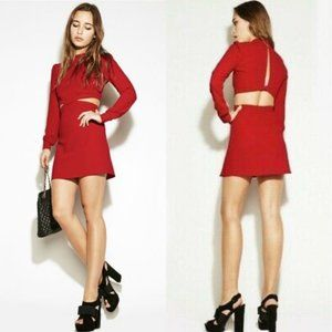 REFORMATION Red Chai Mini Long Sleeve Dress